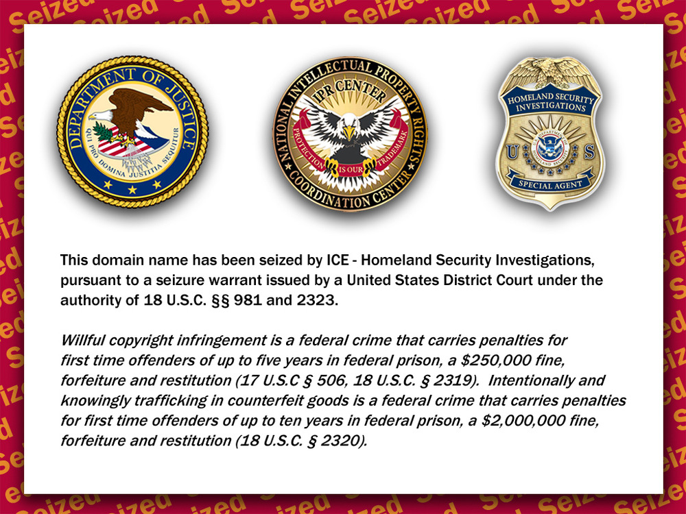 This domain name has been seized by ICE – Homeland Security Investigations